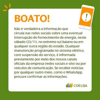 Resultado de imagem para Coelba desmente boato sobre interrupção de energia em toda Bahia